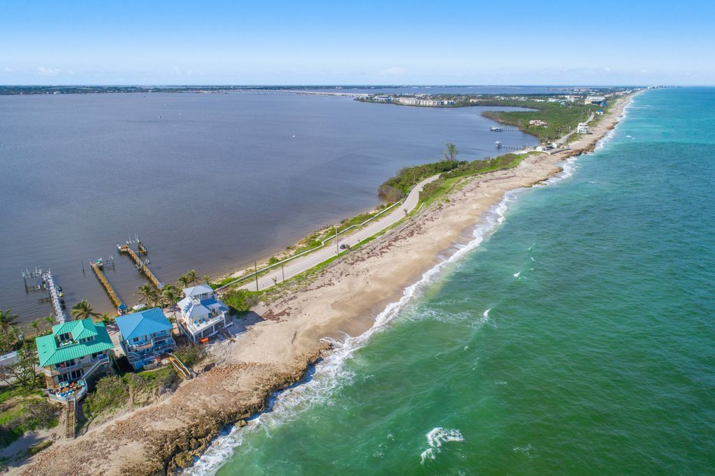 Beach houses dot the barrier island known as Hutchinson Island South